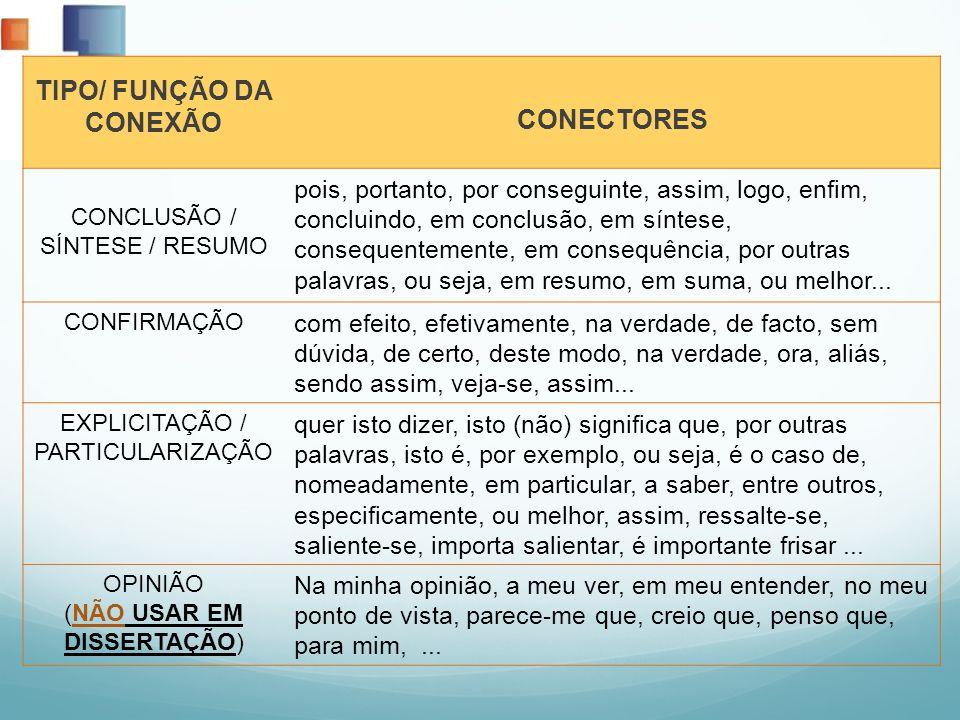TIPO/ FUNÇÃO DA CONEXÃO CONECTORES CONCLUSÃO / SÍNTESE / RESUMO pois, portanto, por conseguinte, assim, logo, enfim, concluindo, em conclusão, em sínt