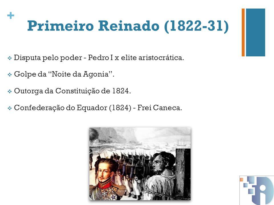 + Primeiro Reinado (1822-31) Disputa pelo poder - Pedro I x elite aristocrática. Golpe da Noite da Agonia. Outorga da Constituição de 1824. Confederaç