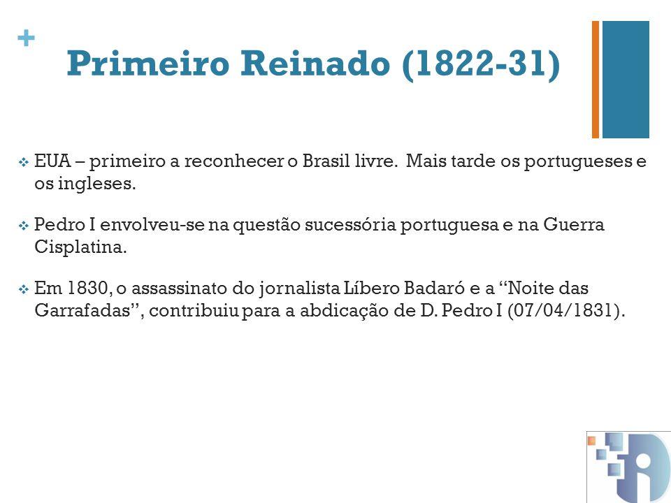 + Primeiro Reinado (1822-31) EUA – primeiro a reconhecer o Brasil livre. Mais tarde os portugueses e os ingleses. Pedro I envolveu-se na questão suces