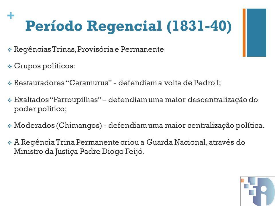 + Período Regencial (1831-40) Regências Trinas, Provisória e Permanente Grupos políticos: Restauradores Caramurus - defendiam a volta de Pedro I; Exal