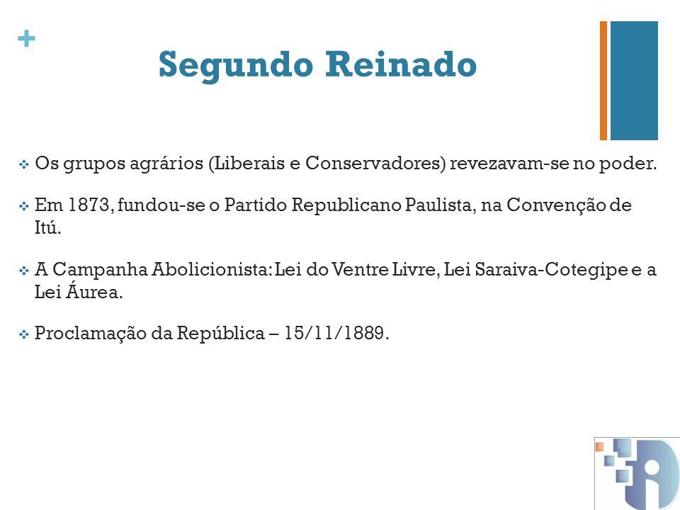 + Segundo Reinado Os grupos agrários (Liberais e Conservadores) revezavam-se no poder. Em 1873, fundou-se o Partido Republicano Paulista, na Convenção