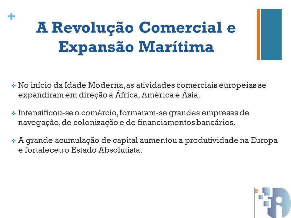 + A Revolução Comercial e Expansão Marítima No início da Idade Moderna, as atividades comerciais europeias se expandiram em direção à África, América