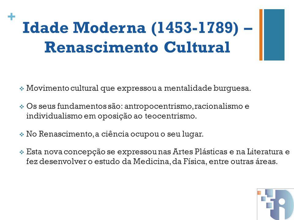 + Idade Moderna (1453-1789) – Renascimento Cultural Movimento cultural que expressou a mentalidade burguesa. Os seus fundamentos são: antropocentrismo