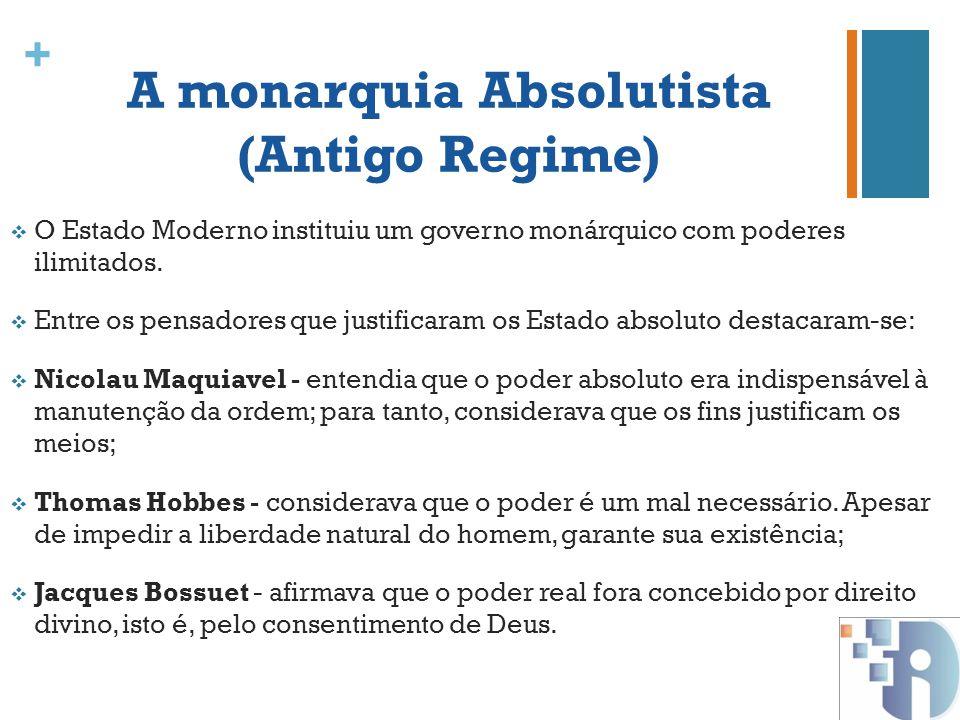 + A monarquia Absolutista (Antigo Regime) O Estado Moderno instituiu um governo monárquico com poderes ilimitados. Entre os pensadores que justificara