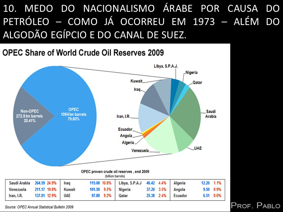 10. MEDO DO NACIONALISMO ÁRABE POR CAUSA DO PETRÓLEO – COMO JÁ OCORREU EM 1973 – ALÉM DO ALGODÃO EGÍPCIO E DO CANAL DE SUEZ.