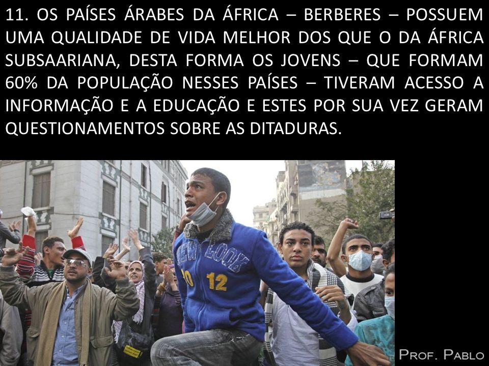 11. OS PAÍSES ÁRABES DA ÁFRICA – BERBERES – POSSUEM UMA QUALIDADE DE VIDA MELHOR DOS QUE O DA ÁFRICA SUBSAARIANA, DESTA FORMA OS JOVENS – QUE FORMAM 6