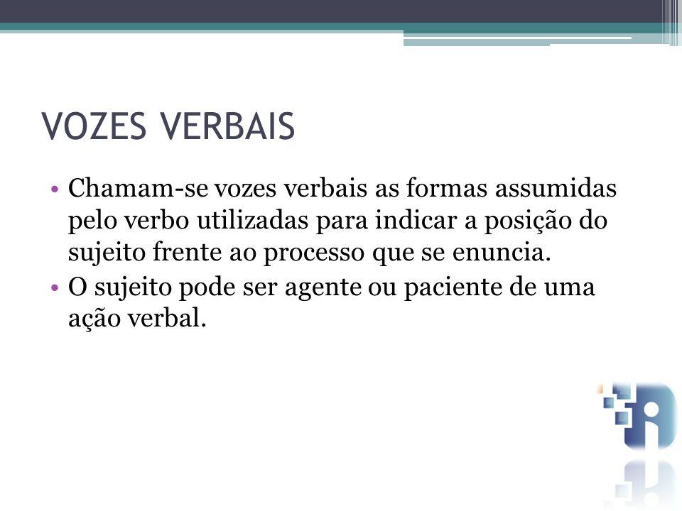 VOZES VERBAIS Chamam-se vozes verbais as formas assumidas pelo verbo utilizadas para indicar a posição do sujeito frente ao processo que se enuncia.