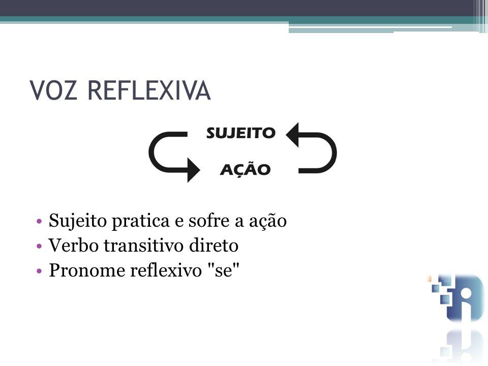 VOZ REFLEXIVA Sujeito pratica e sofre a ação Verbo transitivo direto Pronome reflexivo se