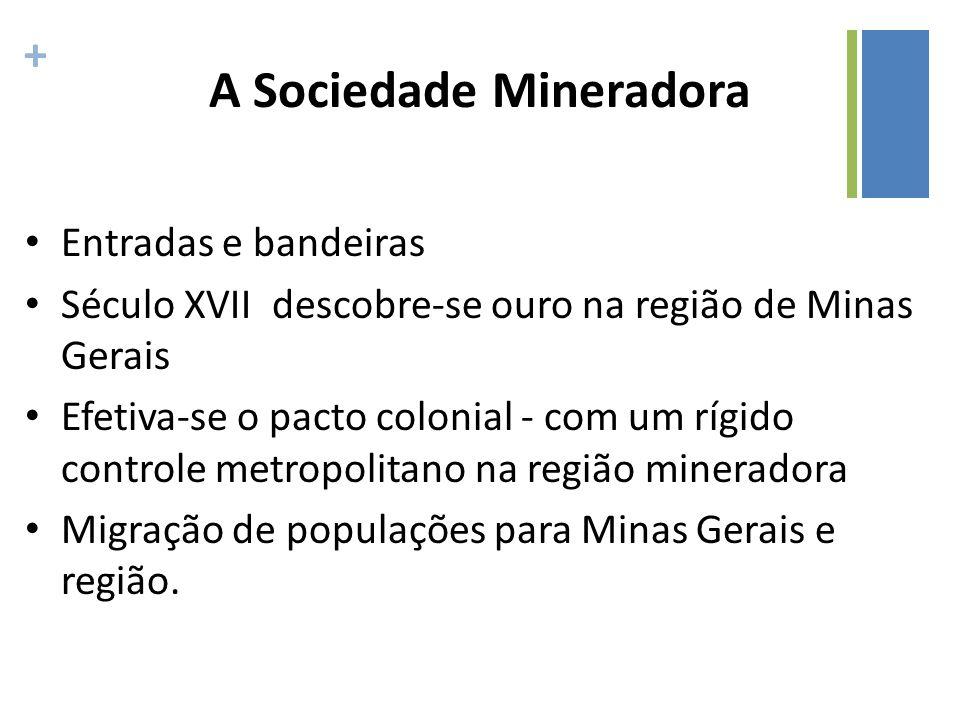 + A Sociedade Mineradora Entradas e bandeiras Século XVII descobre-se ouro na região de Minas Gerais Efetiva-se o pacto colonial - com um rígido contr