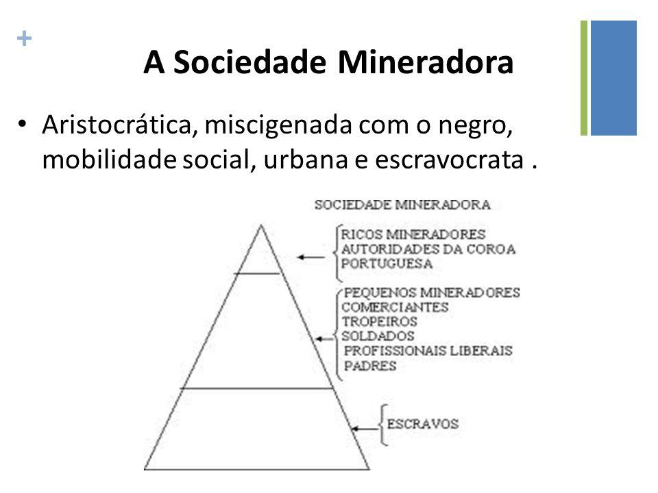 + A Sociedade Mineradora Aristocrática, miscigenada com o negro, mobilidade social, urbana e escravocrata.