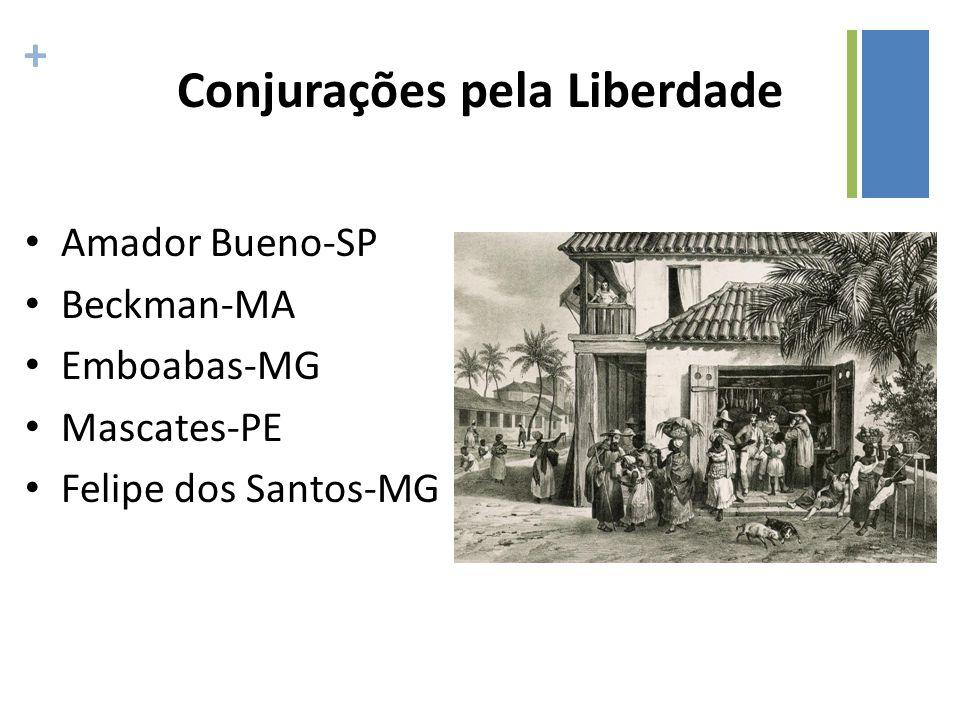 + Conjurações pela Liberdade Amador Bueno-SP Beckman-MA Emboabas-MG Mascates-PE Felipe dos Santos-MG