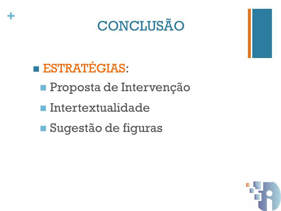 + CONCLUSÃO ESTRATÉGIAS: Proposta de Intervenção Intertextualidade Sugestão de figuras