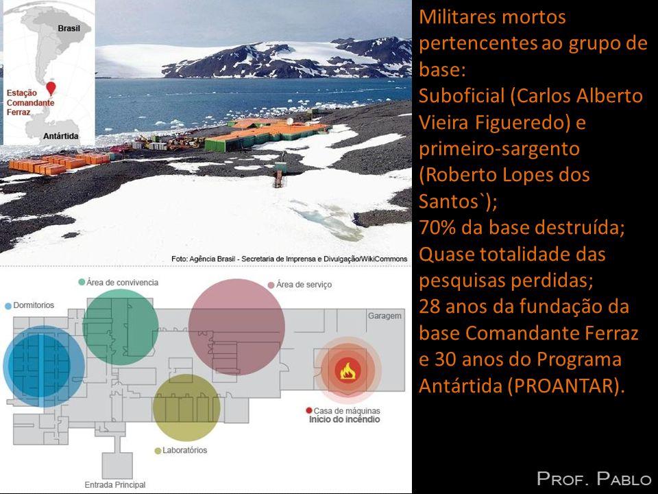 Militares mortos pertencentes ao grupo de base: Suboficial (Carlos Alberto Vieira Figueredo) e primeiro-sargento (Roberto Lopes dos Santos`); 70% da base destruída; Quase totalidade das pesquisas perdidas; 28 anos da fundação da base Comandante Ferraz e 30 anos do Programa Antártida (PROANTAR).