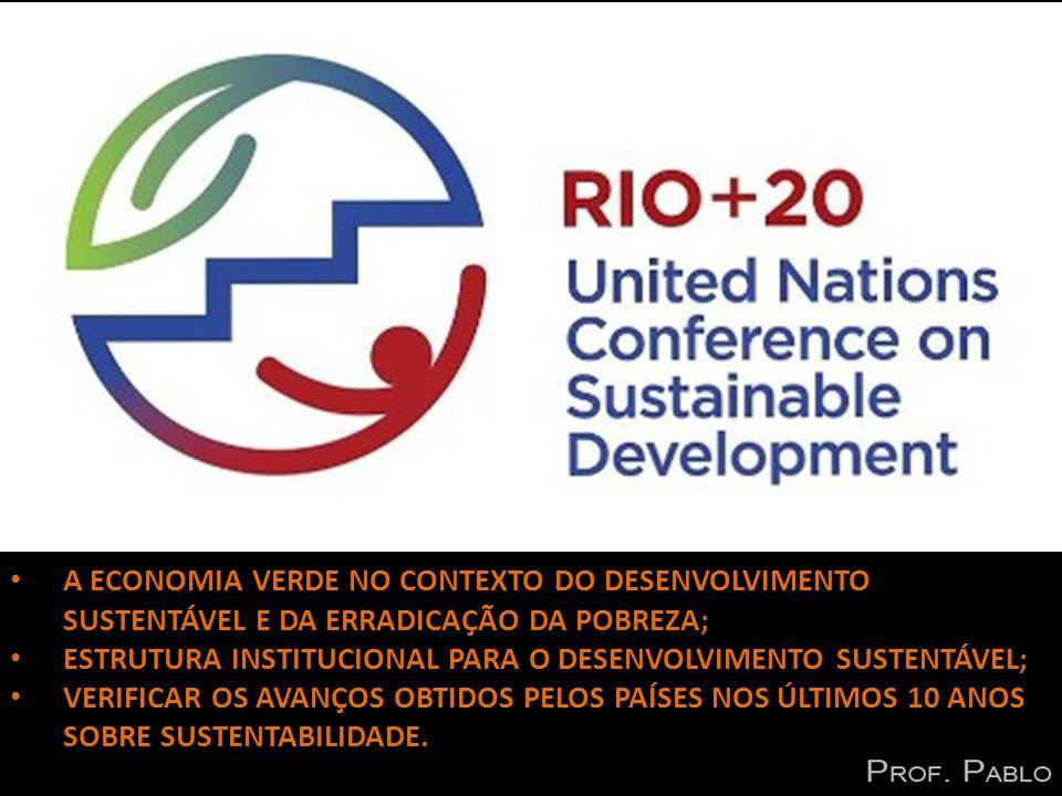 RIO + 20 A ECONOMIA VERDE NO CONTEXTO DO DESENVOLVIMENTO SUSTENTÁVEL E DA ERRADICAÇÃO DA POBREZA; ESTRUTURA INSTITUCIONAL PARA O DESENVOLVIMENTO SUSTENTÁVEL; VERIFICAR OS AVANÇOS OBTIDOS PELOS PAÍSES NOS ÚLTIMOS 10 ANOS SOBRE SUSTENTABILIDADE.