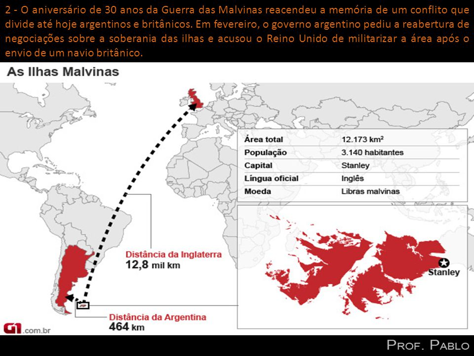 2 - O aniversário de 30 anos da Guerra das Malvinas reacendeu a memória de um conflito que divide até hoje argentinos e britânicos. Em fevereiro, o go