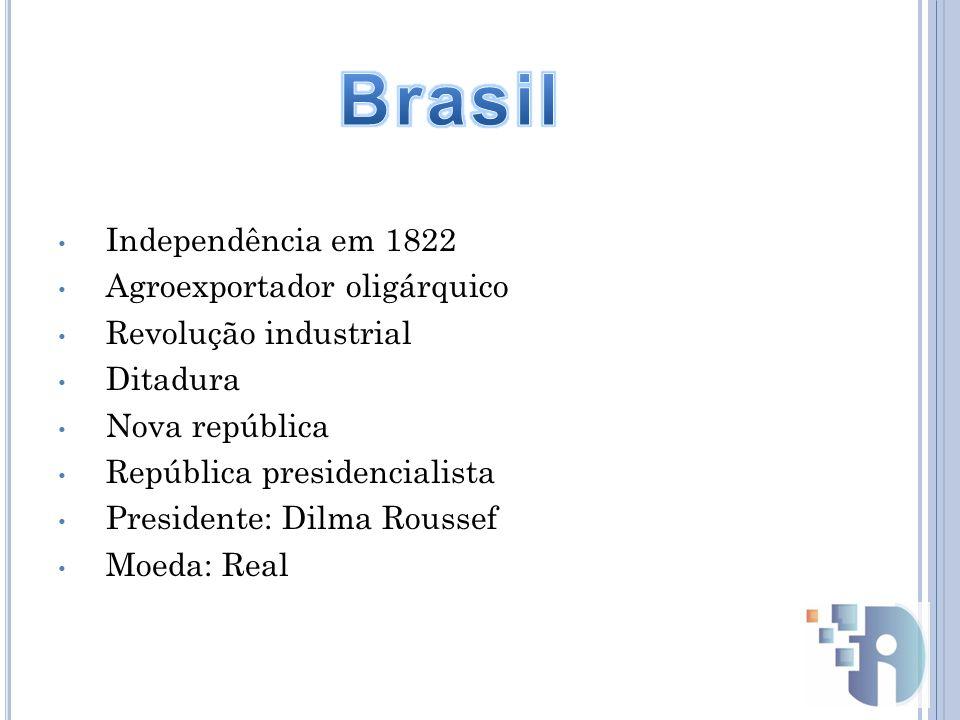 Independência em 1822 Agroexportador oligárquico Revolução industrial Ditadura Nova república República presidencialista Presidente: Dilma Roussef Moe