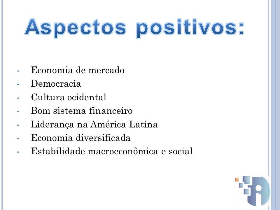 Economia de mercado Democracia Cultura ocidental Bom sistema financeiro Liderança na América Latina Economia diversificada Estabilidade macroeconômica