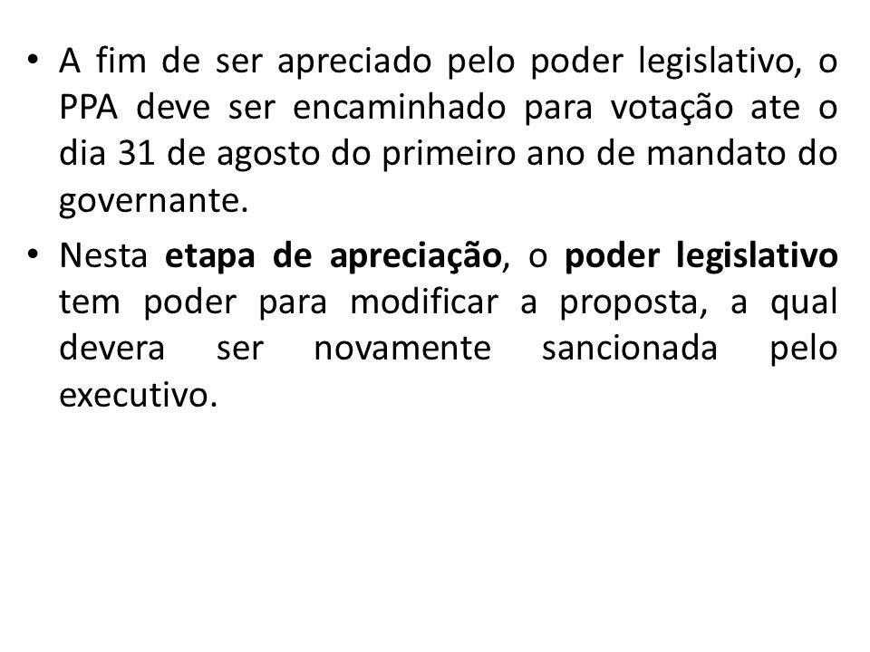A fim de ser apreciado pelo poder legislativo, o PPA deve ser encaminhado para votação ate o dia 31 de agosto do primeiro ano de mandato do governante