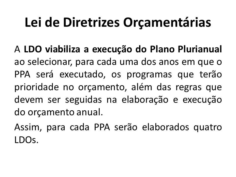 Lei de Diretrizes Orçamentárias A LDO viabiliza a execução do Plano Plurianual ao selecionar, para cada uma dos anos em que o PPA será executado, os p
