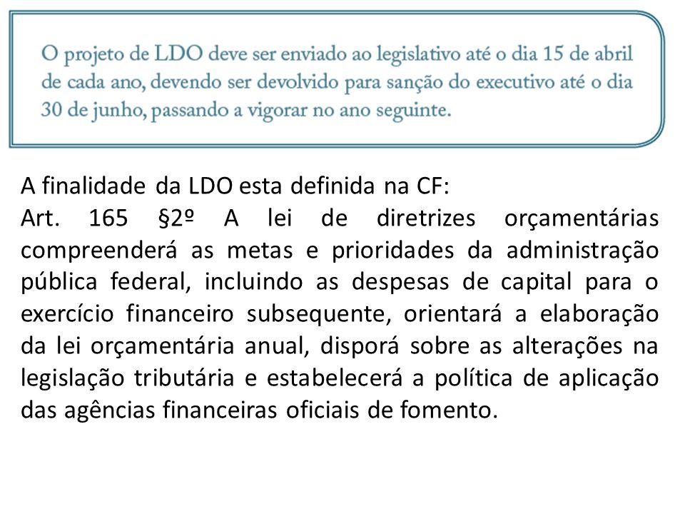 A finalidade da LDO esta definida na CF: Art. 165 §2º A lei de diretrizes orçamentárias compreenderá as metas e prioridades da administração pública f