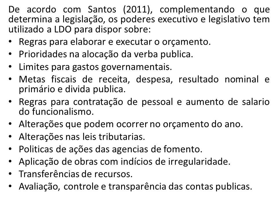 De acordo com Santos (2011), complementando o que determina a legislação, os poderes executivo e legislativo tem utilizado a LDO para dispor sobre: Re