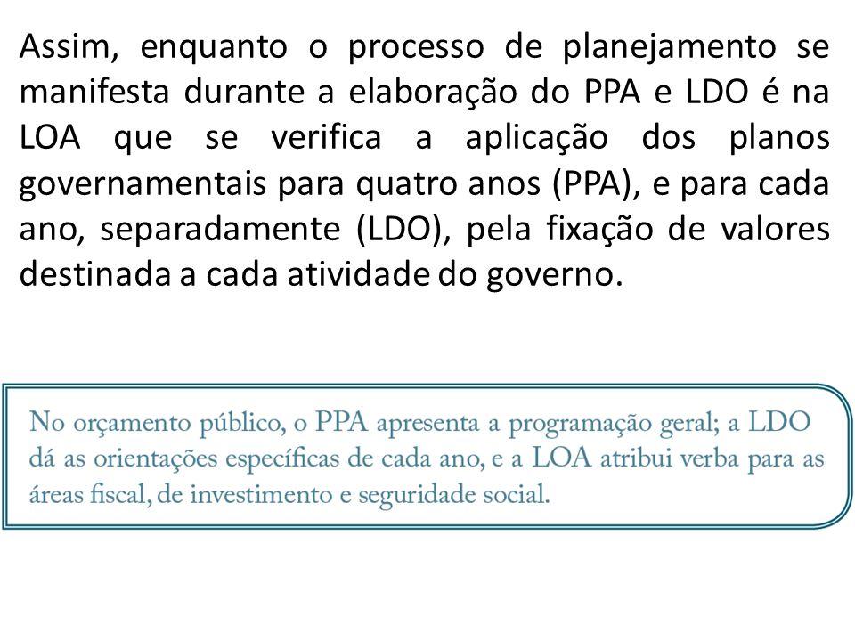Assim, enquanto o processo de planejamento se manifesta durante a elaboração do PPA e LDO é na LOA que se verifica a aplicação dos planos governamenta