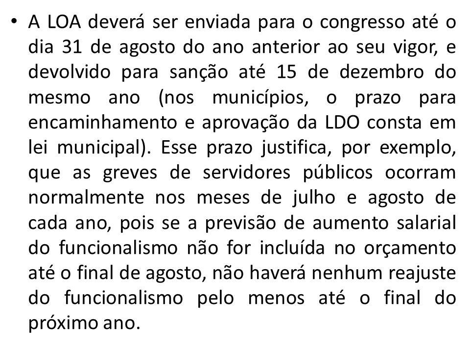 A LOA deverá ser enviada para o congresso até o dia 31 de agosto do ano anterior ao seu vigor, e devolvido para sanção até 15 de dezembro do mesmo ano