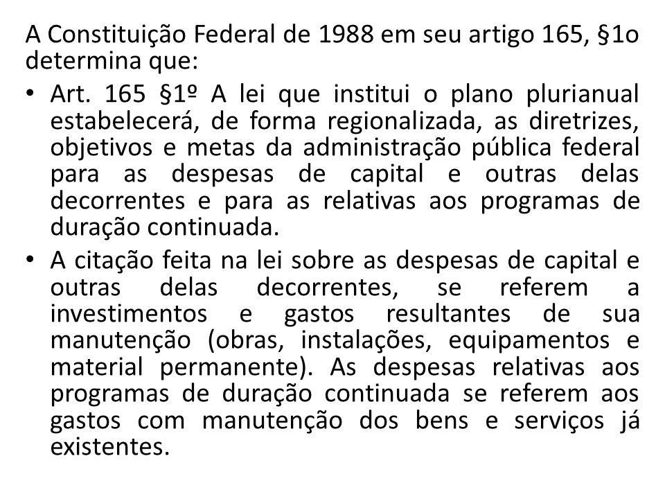 A Constituição Federal de 1988 em seu artigo 165, §1o determina que: Art. 165 §1º A lei que institui o plano plurianual estabelecerá, de forma regiona