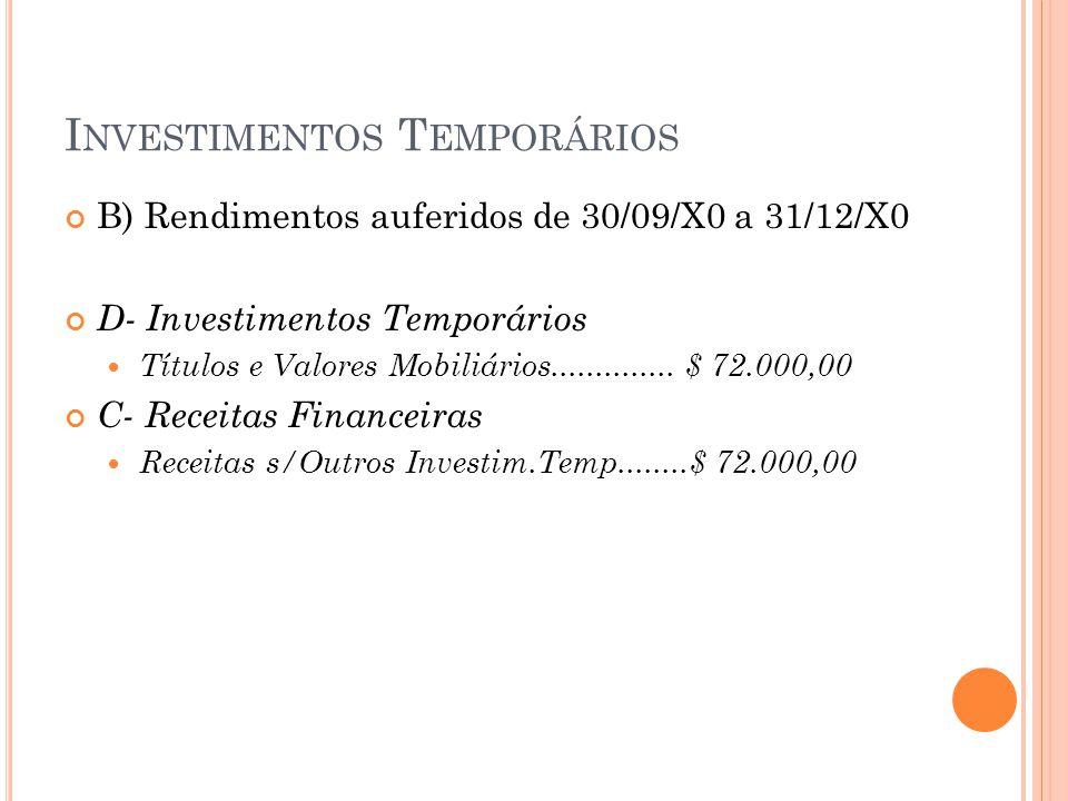 I NVESTIMENTOS T EMPORÁRIOS B) Rendimentos auferidos de 30/09/X0 a 31/12/X0 D- Investimentos Temporários Títulos e Valores Mobiliários.............. $