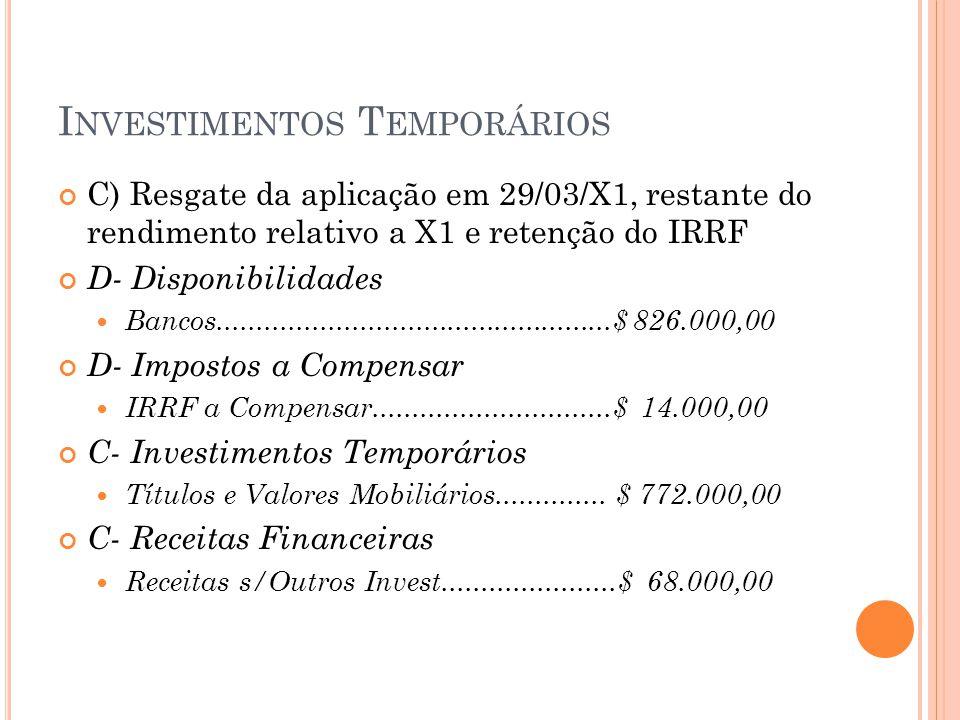 I NVESTIMENTOS T EMPORÁRIOS C) Resgate da aplicação em 29/03/X1, restante do rendimento relativo a X1 e retenção do IRRF D- Disponibilidades Bancos...