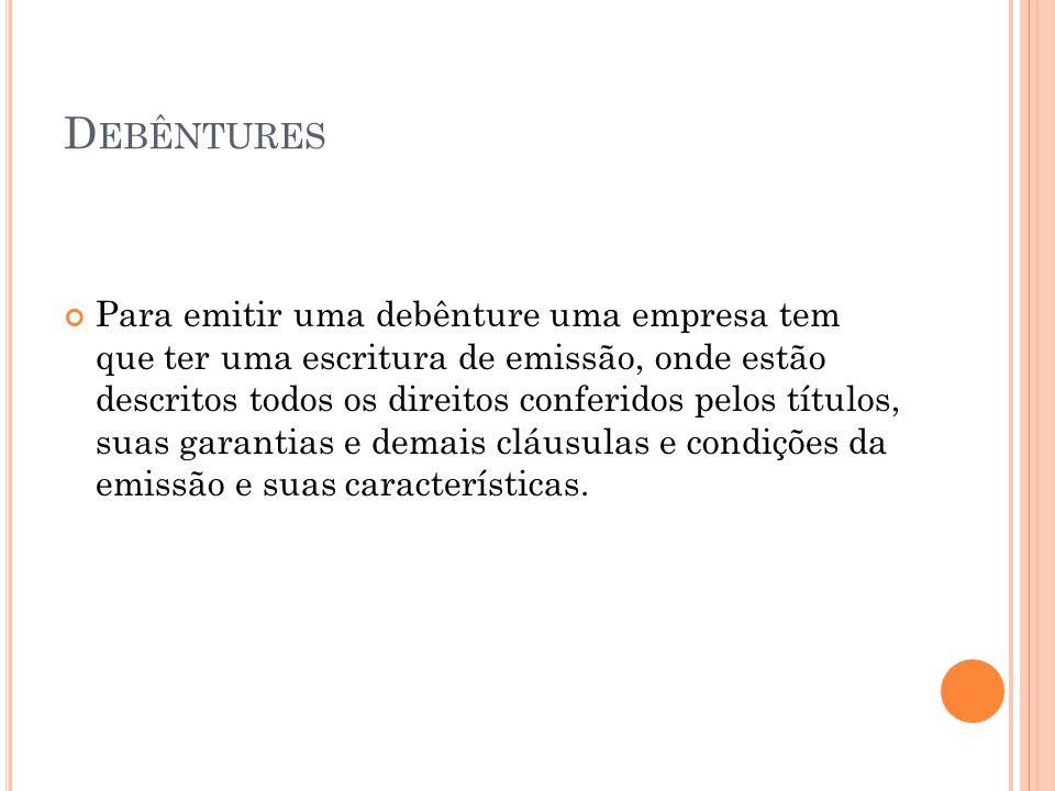 I NVESTIMENTOS T EMPORÁRIOS Tipos de Investimentos: Fundos de Aplicação Imediata Fundos de Investimentos de Renda Fixa ou Variável Títulos do Banco Central Títulos do Tesouro Nacional Depósitos a Prazo Fixo Certificados de Depósitos Bancários Ações adquiridas ou colocadas na Bolsa de Valores Aplicações Temporárias em Ouro Debêntures