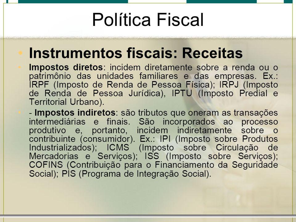 Política Fiscal Instrumentos fiscais: Receitas Impostos diretos: incidem diretamente sobre a renda ou o patrimônio das unidades familiares e das empre