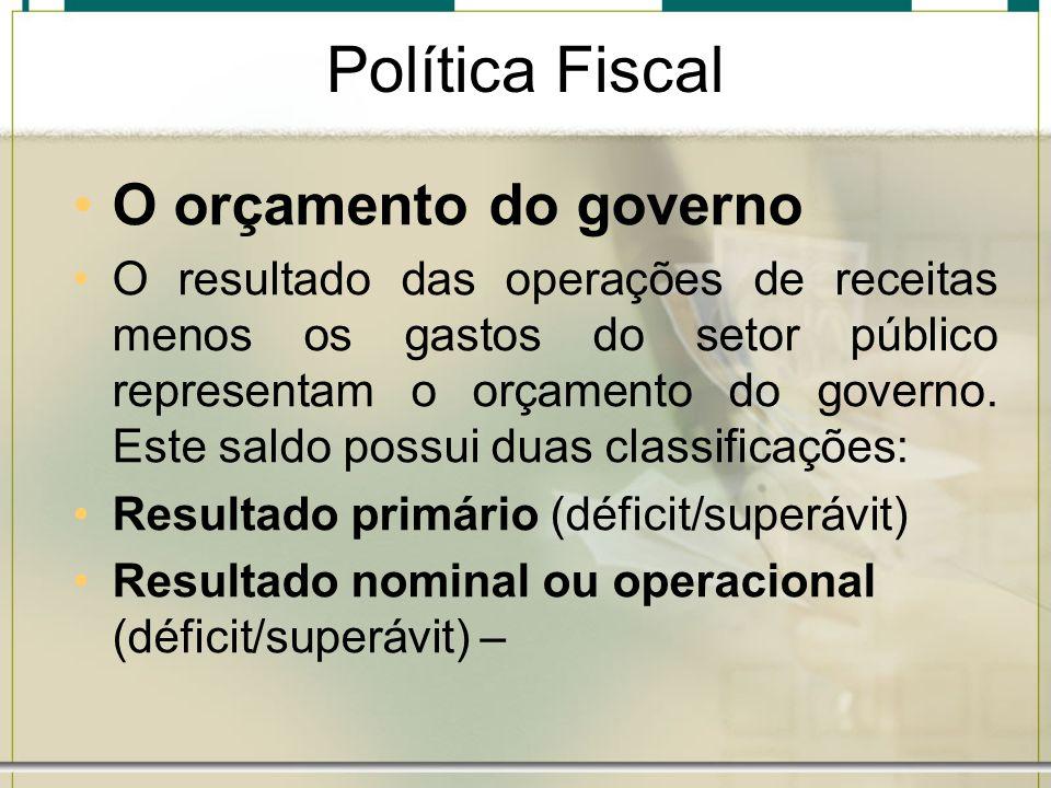 Política Fiscal O orçamento do governo O resultado das operações de receitas menos os gastos do setor público representam o orçamento do governo. Este