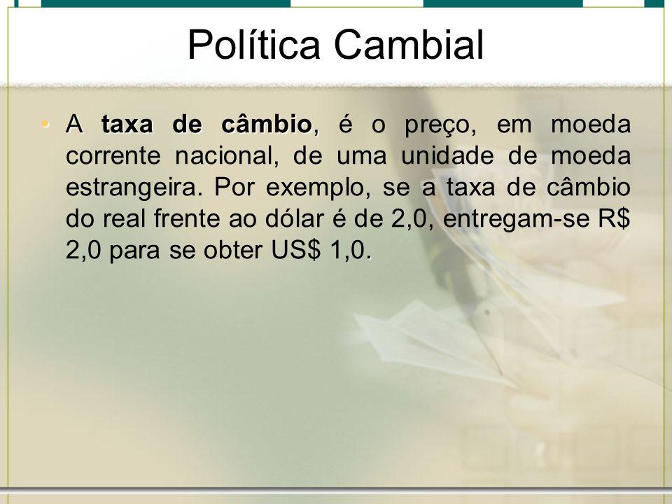 Política Cambial A taxa de câmbio,.A taxa de câmbio, é o preço, em moeda corrente nacional, de uma unidade de moeda estrangeira. Por exemplo, se a tax
