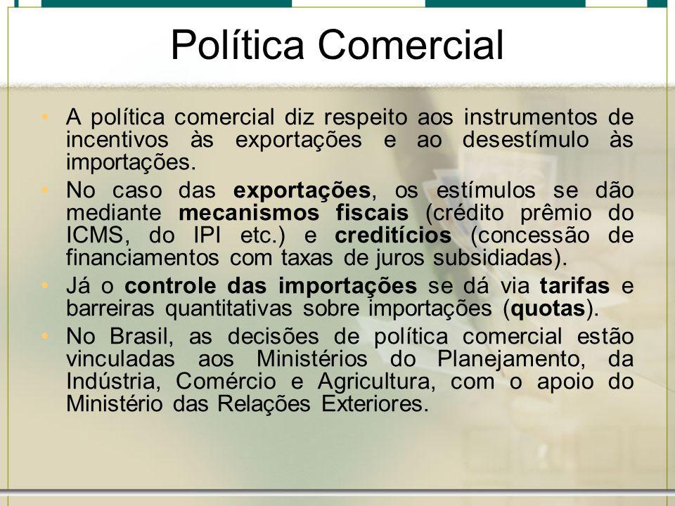 Política Comercial A política comercial diz respeito aos instrumentos de incentivos às exportações e ao desestímulo às importações. No caso das export