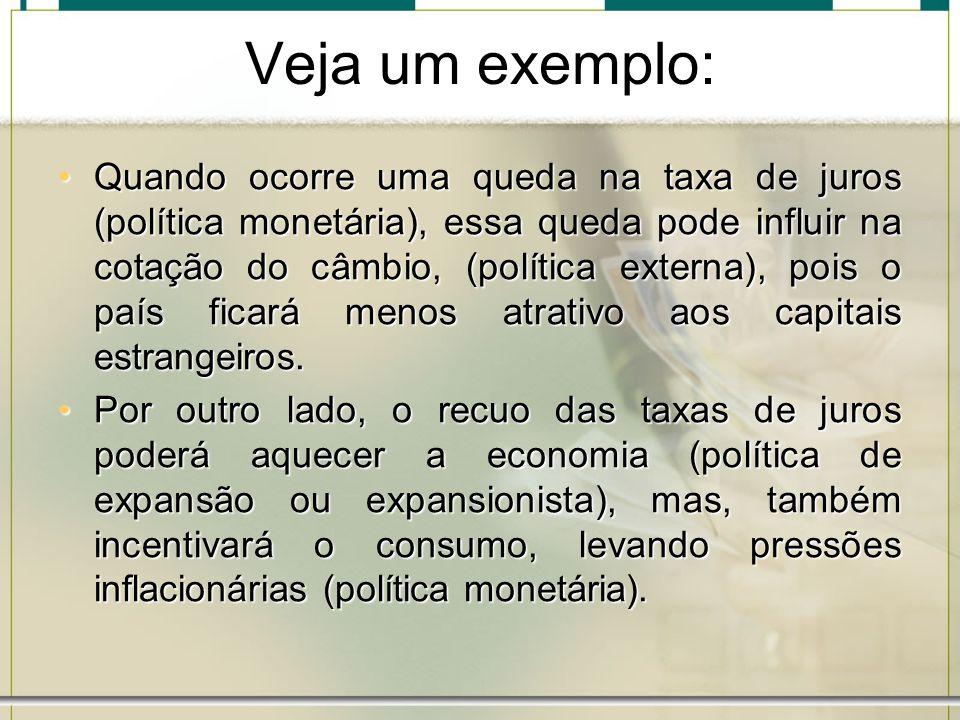 Veja um exemplo: Quando ocorre uma queda na taxa de juros (política monetária), essa queda pode influir na cotação do câmbio, (política externa), pois