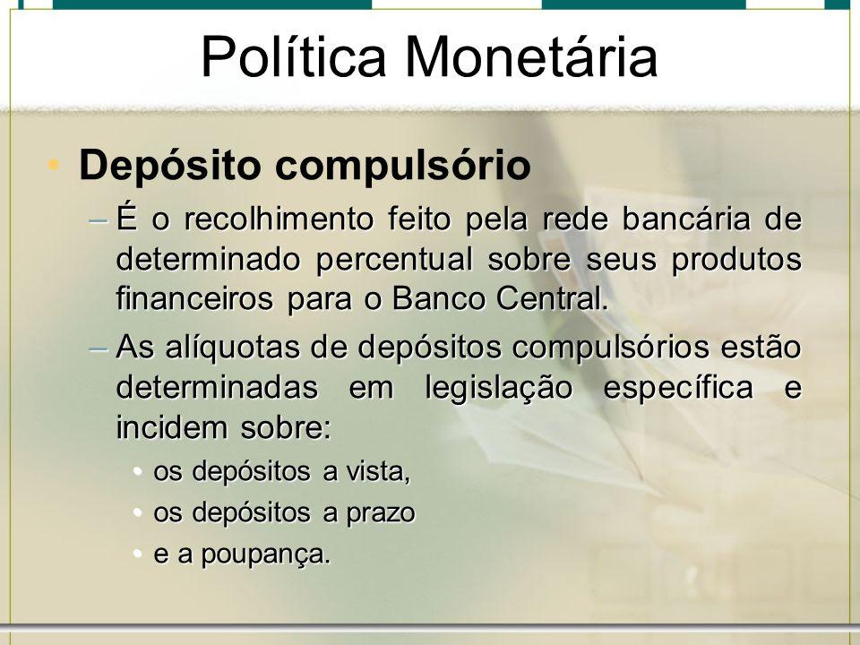 Política Monetária Depósito compulsório –É o recolhimento feito pela rede bancária de determinado percentual sobre seus produtos financeiros para o Ba
