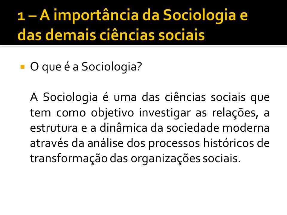 O que é a Sociologia? A Sociologia é uma das ciências sociais que tem como objetivo investigar as relações, a estrutura e a dinâmica da sociedade mode