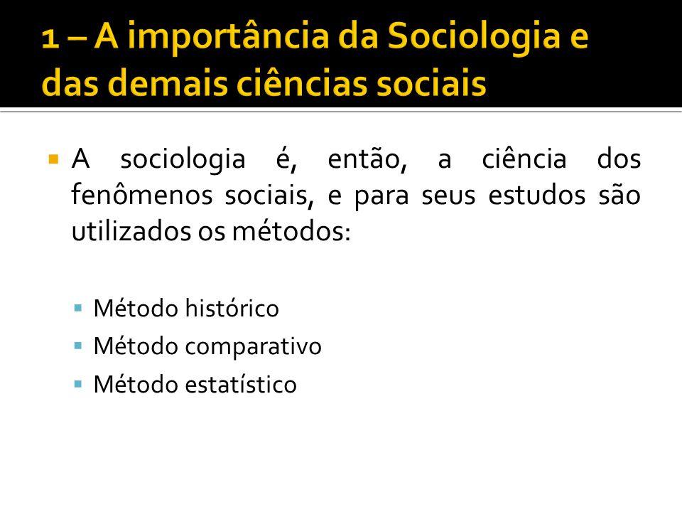 A sociologia é, então, a ciência dos fenômenos sociais, e para seus estudos são utilizados os métodos: Método histórico Método comparativo Método esta