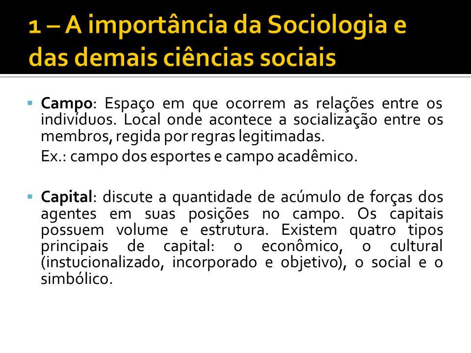 Campo: Espaço em que ocorrem as relações entre os indivíduos. Local onde acontece a socialização entre os membros, regida por regras legitimadas. Ex.: