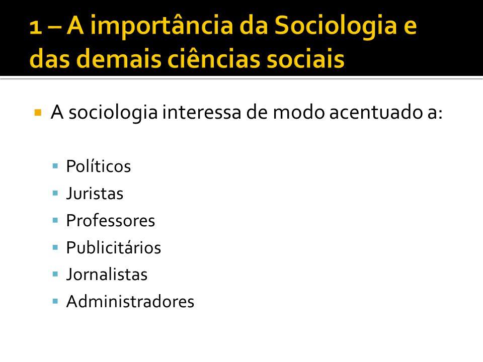 A sociologia interessa de modo acentuado a: Políticos Juristas Professores Publicitários Jornalistas Administradores