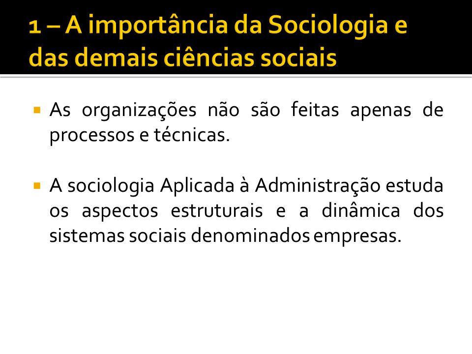 As organizações não são feitas apenas de processos e técnicas. A sociologia Aplicada à Administração estuda os aspectos estruturais e a dinâmica dos s