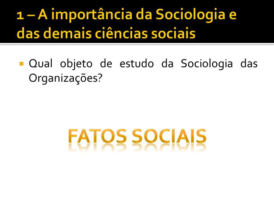 Qual objeto de estudo da Sociologia das Organizações?