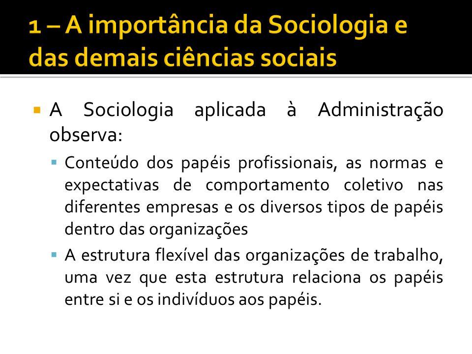 A Sociologia aplicada à Administração observa: Conteúdo dos papéis profissionais, as normas e expectativas de comportamento coletivo nas diferentes em