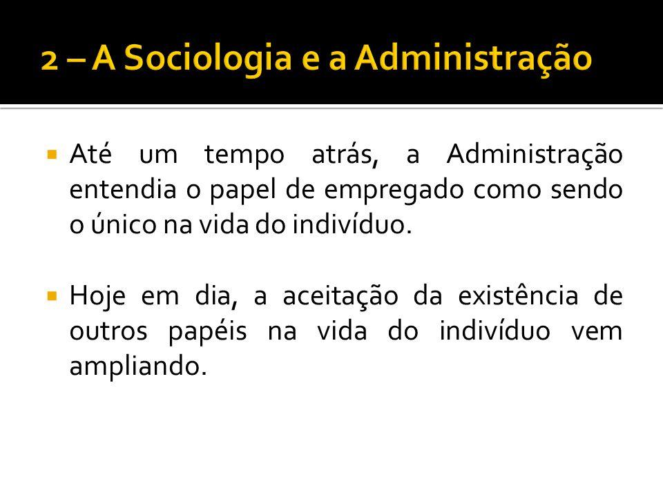 Até um tempo atrás, a Administração entendia o papel de empregado como sendo o único na vida do indivíduo. Hoje em dia, a aceitação da existência de o