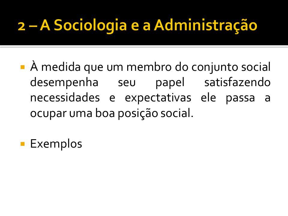 À medida que um membro do conjunto social desempenha seu papel satisfazendo necessidades e expectativas ele passa a ocupar uma boa posição social. Exe