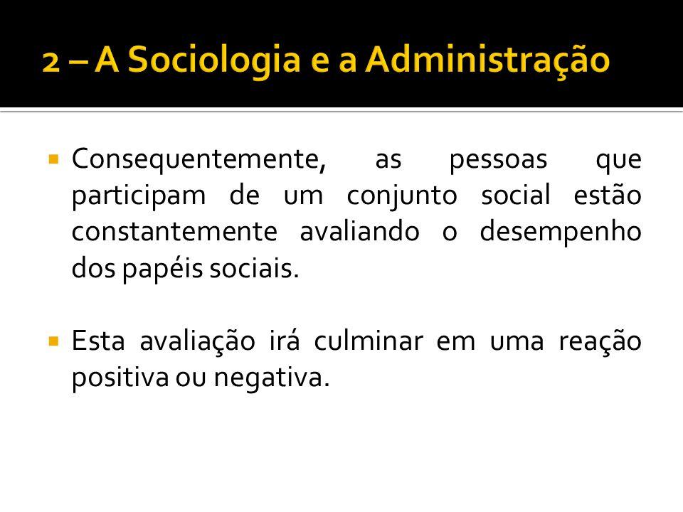 Consequentemente, as pessoas que participam de um conjunto social estão constantemente avaliando o desempenho dos papéis sociais. Esta avaliação irá c