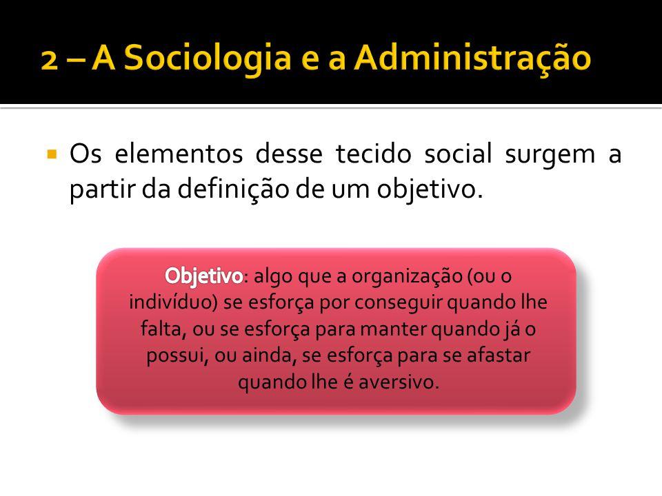 Os elementos desse tecido social surgem a partir da definição de um objetivo.