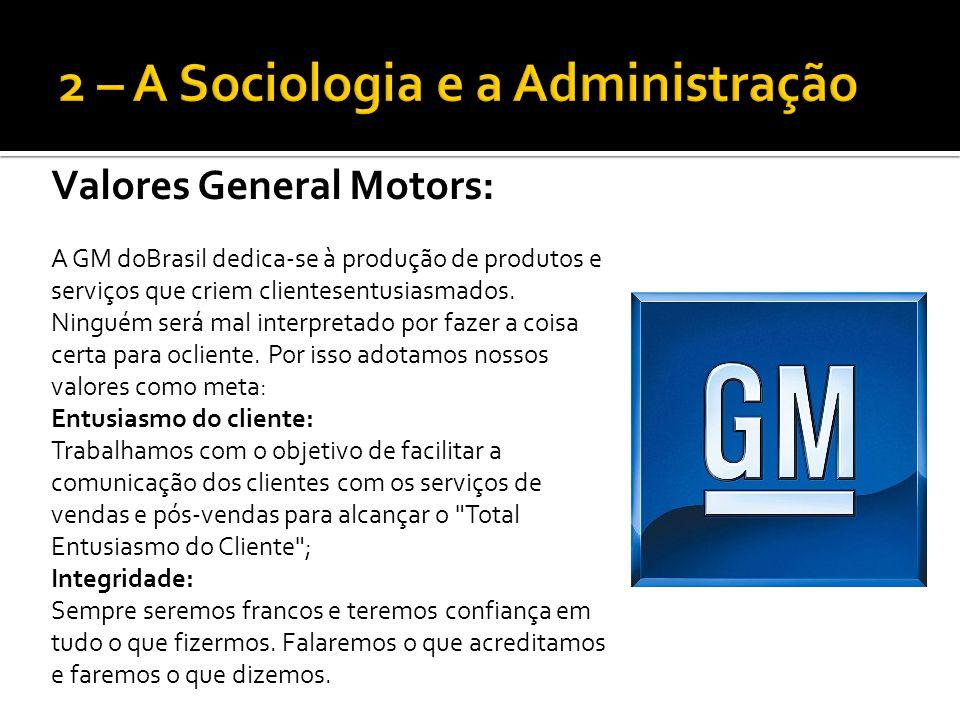 Valores General Motors: A GM doBrasil dedica-se à produção de produtos e serviços que criem clientesentusiasmados. Ninguém será mal interpretado por f