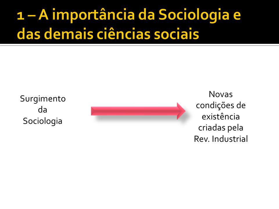 Surgimento da Sociologia Novas condições de existência criadas pela Rev. Industrial